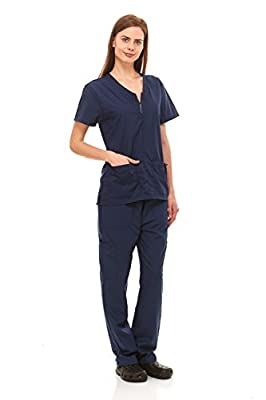 Denice Womens Medical Uniforms Mackenzie Zip Neckline Nurses Scrubs Set 1054 (Large, Navy)