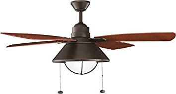 KICHLER 310131OZ Downrod Mount, 4 Walnut ABS Blades Ceiling fan with 82 watts light, Old Bronze