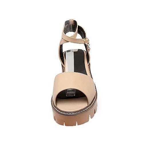 Dress Solid medio Aalardom Albicocca Tacco Pu Tsmlh007554 fibbia Sandals con Women wx0U0BnR