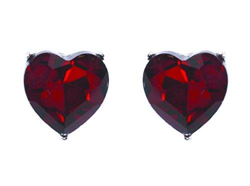 UPC 654469237066, Heart Shaped .7-inch Rhinestone Post Back Earrings Red