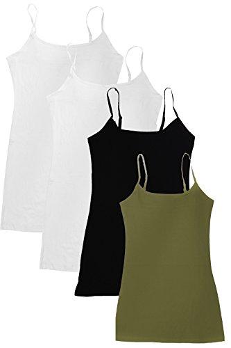 (4 Pack Active Basic Women Basic Tank Tops,White/White/Black/Olive,Small)