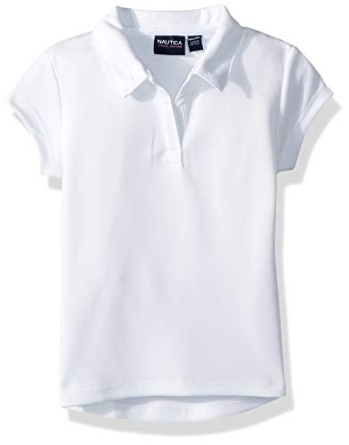 Nautica Girls' Little School Uniform Short Sleeve Performance Polo, White, Small(4) ()