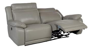 Canapé 3 Places Relax élect Sunday Cuir Pu Gris Amazon Fr