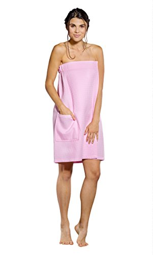 Turquaz Linen Lightweight Knee Length Spa/Bath Waffle Body Wrap with Adjustable Hook-and-Loop Tape (Large, Pink)