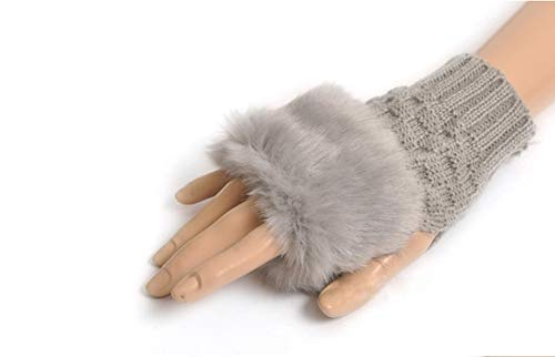 Winter Fingerless Short Touchscreen Gloves Thumb Hole Mittens Knitted Warm Gloves with Faux Fur Gray from Knight Horse