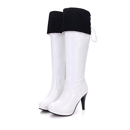 Mode Hälen Kvinna Stilett Hög Klack Plattform Handgjorda Ovanför Knät Boot White