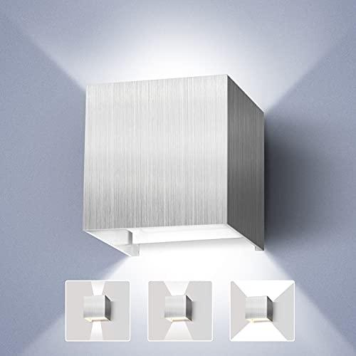 Lureshine Wandlampe 12W LED Wandleuchte Innen Aussenleuchten Einstellbarer Abstrahlwinkel Kaltweiß 6000K IP65 wasserdichte