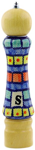 Polish Pottery 8¼-inch Salt Grinder (Stained Glass Theme) + Certificate of Authenticity from Polmedia Polish Pottery