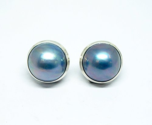 15 mm cultured blue mabe pearl stud earrings, beautiful peacock color mabe pearl earrings,