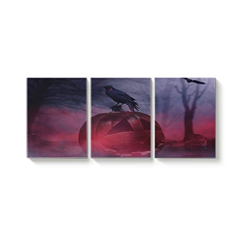 Arts Language 3 Pcs Canvas Wall Art Office Hotel Bedroom Living Room Home Decor,Horror Halloween Pumpkin Crow Tombstone Design Canvas Art Oil Paintings,Pictures Modern Artworks,12 x 20in x 3 Panels]()