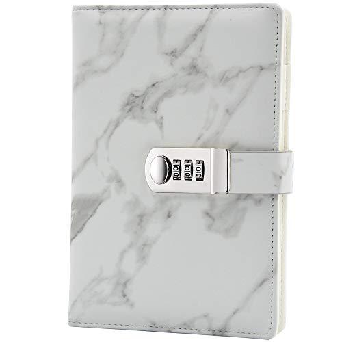 Lirener PU lederen wachtwoord notebook (marmer patroon), A5 formaat draad binden mode dagelijks Notebook wachtwoord…