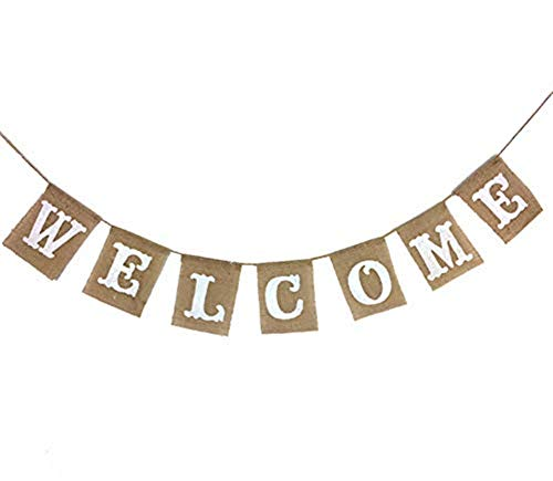(OZXCHIXU TM WELCOME Vintage Party Burlap Banner Home Party Supplies Decorations Photo Props Bridal Shower Garland Wedding Birthday Bunting Decor)