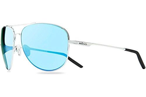 Revo Re1022gf Windspeed Ii Polarized Aviator Sunglasses, Chrome Blue Water, 63 - Aviator Revo