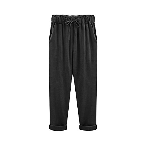 Pant Crop Cotton Woven (Women's Elastic Waist Casual Relaxed Fit Capris Pants Drawstring Cotton Linen Cropped Pants Black 7 Tag 3XL-US 10)