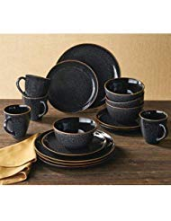 (Better Homes & Gardens 16-Piece Burns Dinnerware Set, Black Speckled)