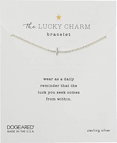 Dogeared Women's The Lucky Charm Bracelet, Cross Charm On Chain Sterling Silver One Size