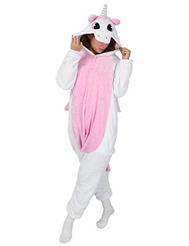 [Adult Onesie Animal Unicorn Pajamas Sleepwear Kigurumi Cosplay Halloween Costume (S (Height 151-160 CM), Pink)] (Unicorn Costumes Ideas)