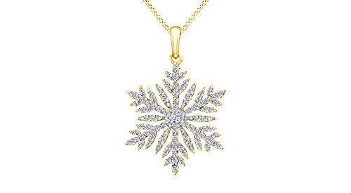 Jewel Zone US White Natural Diamond Snowflake Pendant Necklace 14k Yellow Gold Over Sterling Silver (1/2 Ct) ()