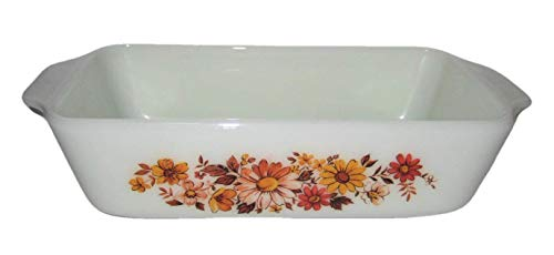 Vintage Fire-King Milk Glass Autumn Flowers 5x9 Inch Loaf Pan
