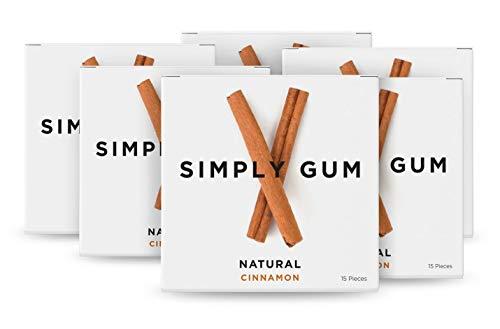 Cinnamon Chewing Gum - Simply Gum, Natural Vegan Chewing Gum, Cinnamon, 15 Count, Pack of 6