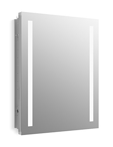 KOHLER K-99007-TL-NA Verdera 24 inch x 30 inch LED Lighted Bathroom Medicine Cabinet, Slow Close Hinge, Internal Magnifying Mirror; Aluminum; Recess or Surface Mount (Medicine Mirror Cabinet Inset)