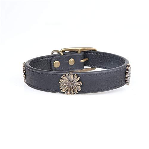 Black 2.5×3545cm Lindou Pet collar Pet collar fashion chrysanthemum decoration in large dog collar,black,2.5×3545cm (color   bluee 2.5×3545cm)