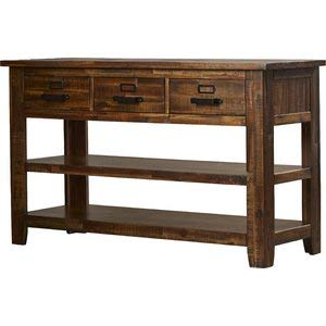 Amazoncom Wood Console Table With 3 Drawers And 2 Shelves