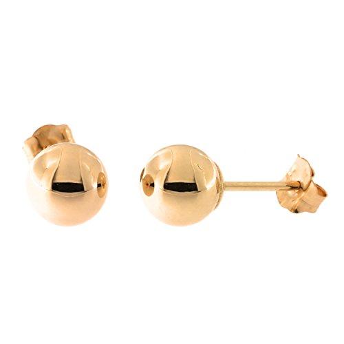 - 14k Rose Gold Ball Stud Earrings, 6 Millimeters