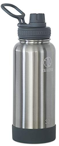 Takeya Actives Insulated Stainless Steel Water Bottle with Spout Lid, 32 oz