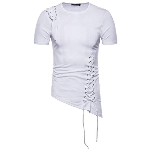 Ucla Ribbed Tank Top - VEZAD Men Summer New Short Sleeve T-Shirt with Irregular Design Knitting Braided Rope Blouse White