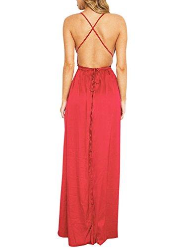 Berrygo Plage Florale Dos Nu Boho Femmes Robe Robe Maxi Split Sexy Rouge-1