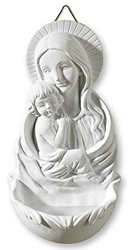 (Religious Catholic Madonna and Child Holy Water Font, 6 3/4 Inch)