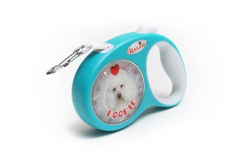 White Poodle Retractable Dog Leash
