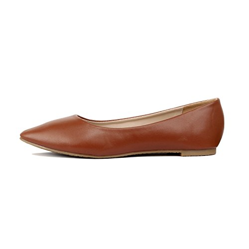 Guilty Shoes - Women's Classic Pointy Toe Ballet Slip On Comfortable Flats Flats, Tan Pu, 8.5 B(M) US (Pointy Toe Brown)