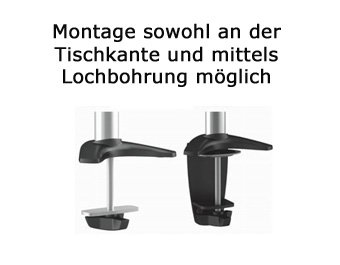 HALTERUNGSPROFI Dual 2 Fach Tischhalterung f/ür LED und LCD Monitore bis 27 Zoll VESA 75x75 100x100 OFFICE C024