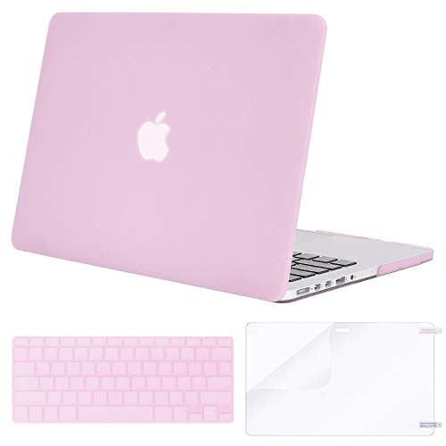MOSISO Case Only Compatible Older Version MacBook Pro Retina 13 Inch (Model: A1502 & A1425) (Release 2015 - end 2012), Plastic Hard Shell & Keyboard Cover & Screen Protector, Clear Pink