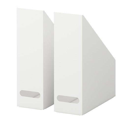 Ikea Kvissle 2 Pack White Magazine File Holder Rack Case Steel Metal Structure by Ikea