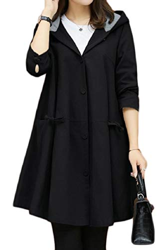 CBTLVSN Women's Casual Hooded Overcoat Swing Single Breasted Jackets Trench Coat Black XXL