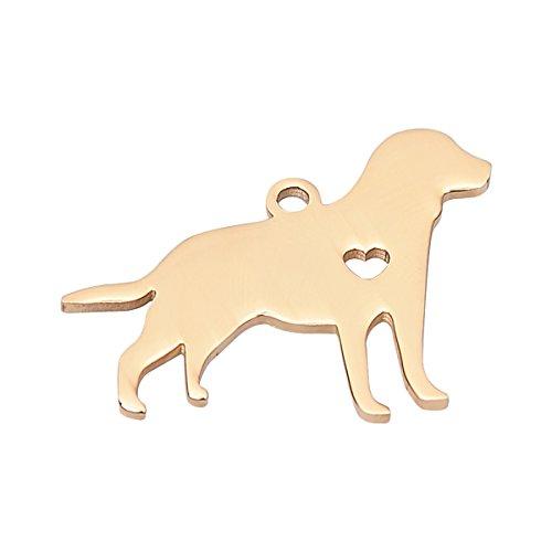 (HooAMI Gold Plated Labrador Retriever Charm Animal Pendant Stainless Steel Dog Lover Gift)