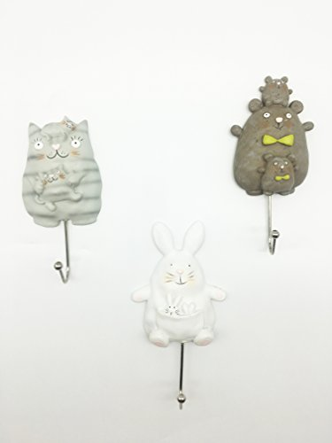 Grace Home Set of 3 Polyresin & Metal Cute Animal Design Wall Hooks Towels Keys Hook by Grace Home
