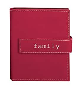 """Pioneer Photo Albums 4""""x6"""" 1-up 36 Photos Expressions Embroidered Magnetic Strap Album - Burgundy Family"""
