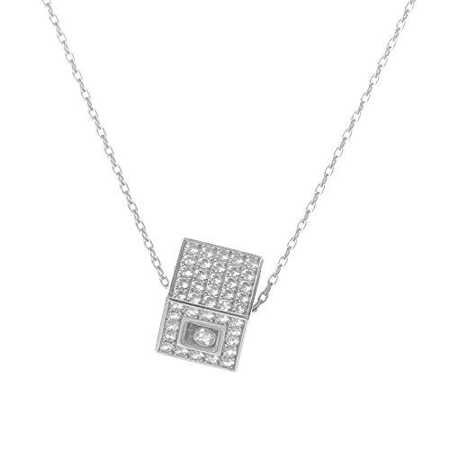 BVLGARI Chopard Happy Diamonds 18K White Gold Diamond Pave Cube Pendant Necklace