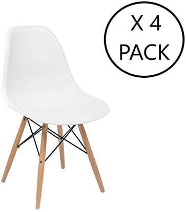 CAMBIA TUS MUEBLES - Pack 4 sillas Comedor salón NÓRDICA, Blanca ...