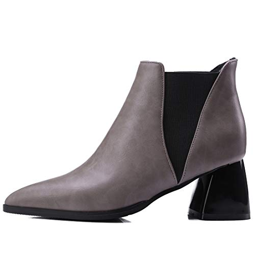 Jushee Zipper Boots cm Ankle Heel Patent Leather Womens Grey mid 6 Juguide rvx0qwrA