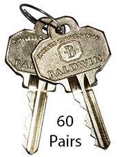 Jumbo Pack Baldwin Original Factory Precut Keys (5 pin - C Keyway - 60 pairs) by Unknown