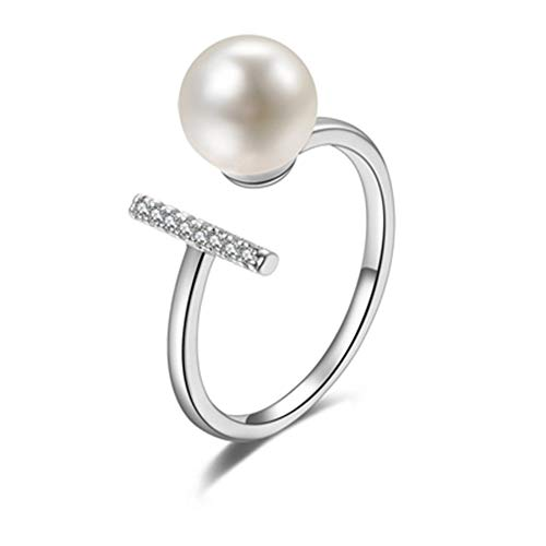 CAIYCAI Adjustable Jewelry Ring Imitation Pearl Ring For Women Wedding Party Ring Rose Gold Gift Platinum Plated ()