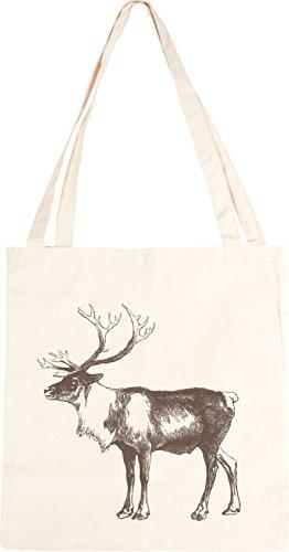 Shopper in cotone, decorazione: cervo