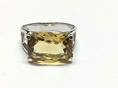 Sterling Silver 12x16 mm Cushion Citrine Ring Large Citirne Ring For Men Women