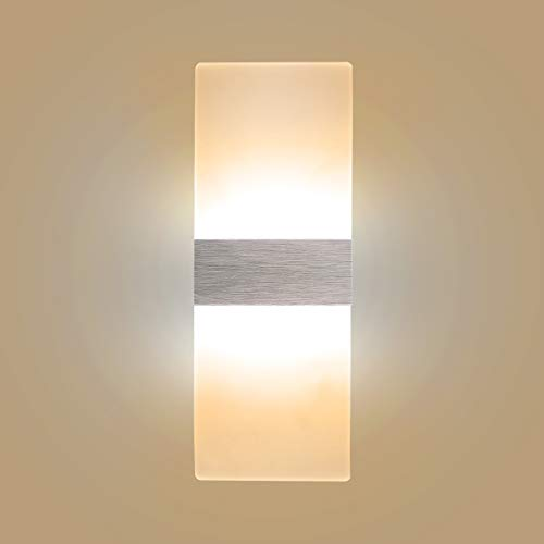 Aluminum White Acrylic - Modern LED Acrylic Wall Sconce 12W Warm White 2700K Up Down Lamp for Bedroom Corridor Stairs Bathroom Indoor Lighting Fixture
