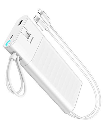 Heloideo 20000mAh Power Bank Portable Charger External Battery Pack Fast Charger QC3.0 PD 18W Total 5A 28.5W Built-in AC Plug,Built in Micro Nylon Cables and Other Compatible iPhone Xs/XS Max / 8/7